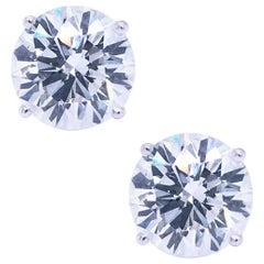 GIA Certified 5.08 Carat Diamond Stud Earrings Round Cut 18K Gold Si1 Clarity