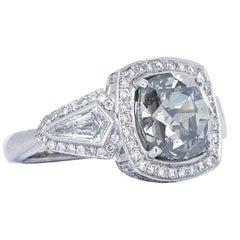 GIA Certified 5.08 Carat Fancy Gray Diamond Three-Stone Ring