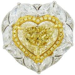 GIA Certified 5.08 Carat Fancy Yellow Heart Shape Diamond 18 Karat Gold Ring