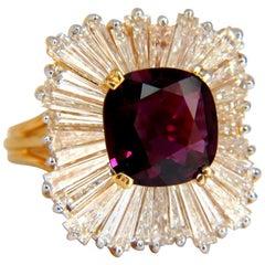 GIA Certified 5.08 Carat Natural Ruby Diamonds Ring 18 Karat Ballerina Prime