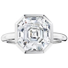 GIA Certified 5.09 Carat Diamond and Platinum Ring by Siegelson
