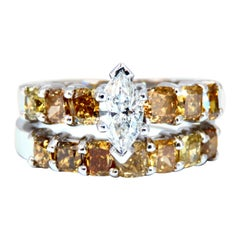 GIA Certified .50ct Natural Marquise & Fancy Color Diamonds Ring