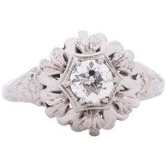 GIA Certified .51 Carat Art Deco 18 Karat White Gold Diamond Engagement Ring