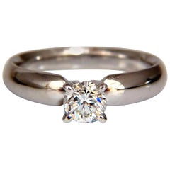 GIA Certified .51 Carat Round Cut Diamond Solitaire Ring Platinum Classic G/Vs