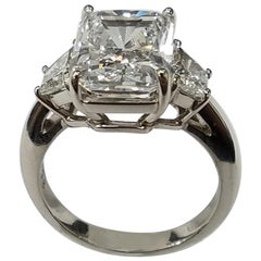 GIA Certified 5.10 Carat Radiant Cut Diamond Ring