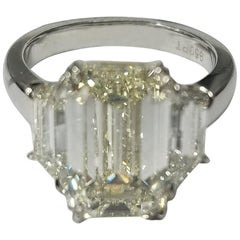 GIA Certified 5.11 Carat Emerald Cut Diamond Ring