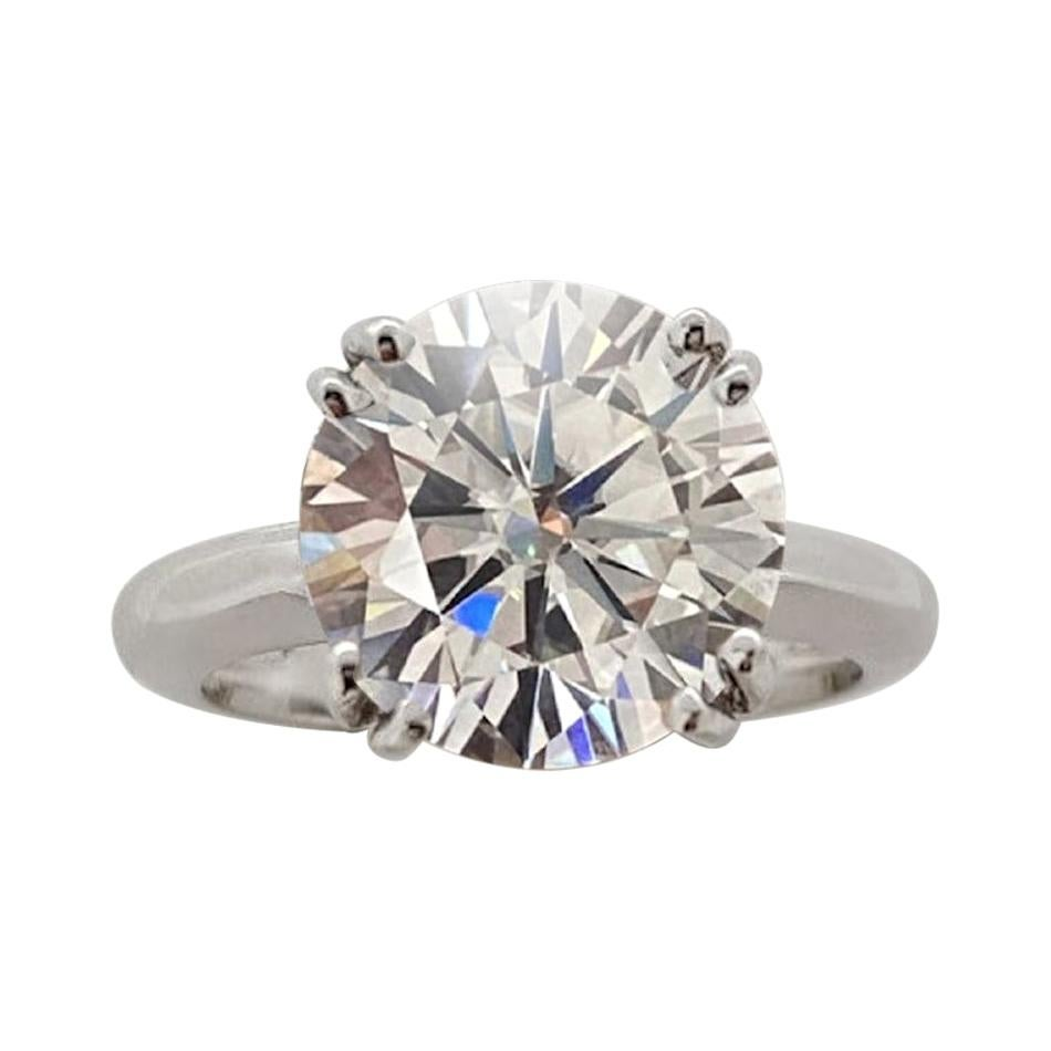 GIA Certified 5.11 Carat Round Brilliant Cut Diamond Platinum Solitaire Ring
