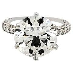 GIA Certified 5.11 Carat Round Diamond Engagement Ring