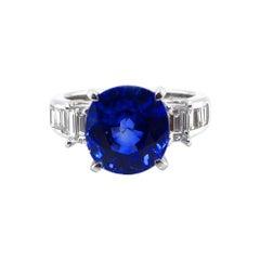 GIA Certified 5.12 Carat Ceylon Sapphire and Diamond Ring Set in Platinum