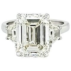 GIA Certified 5.12 Carat Emerald Cut Three-Stone Ring
