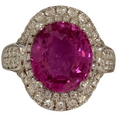 GIA Certified 5.12 Carat Pink sapphire and Diamonds Ring