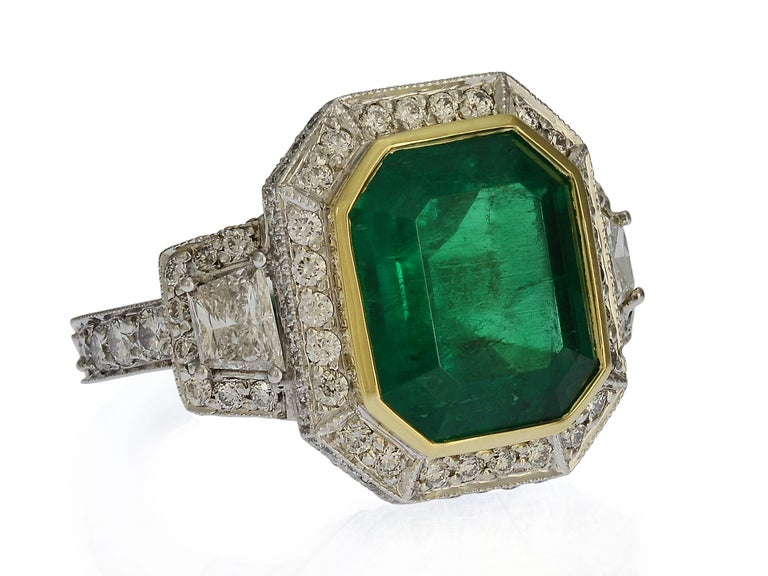 Emerald Cut GIA Certified 5.13 Carat Colombian Emerald Cocktail Ring For Sale