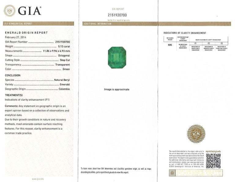 GIA Certified 5.13 Carat Colombian Emerald Cocktail Ring For Sale 1