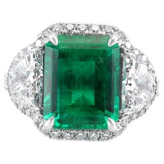 GIA Certified 5.13 Carat No Enhancement Colombian Emerald Three-Stone Ring