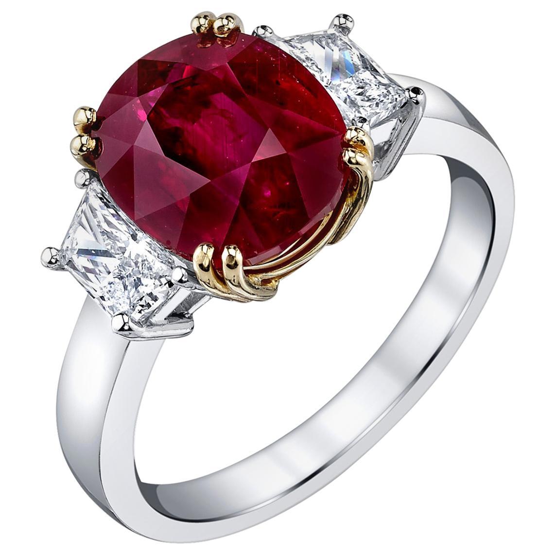 5.12 Carat Ruby GIA, Diamond and White, Yellow Gold 3-Stone Engagement Ring