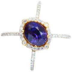 GIA Certified 5.16 Carat Natural Vivid Purple Sapphire Diamonds Ring