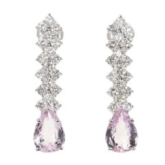 GIA Certified 5.17 Carat Pink Topaz Diamond White Gold Drop Dangle Earrings
