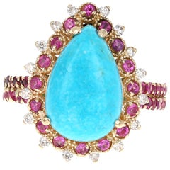 GIA Certified 5.18 Carat Turquoise Pink Sapphire Diamond Yellow Gold Bridal Ring