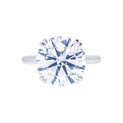GIA Certified 5.41 Carat Round Brilliant Cut Diamond Platinum Ring