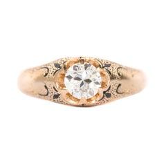 GIA Certified .52 Carat Diamond Yellow Gold Engagement Ring