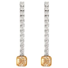 GIA Certified 5.20 Carat Drop Diamond Earrings 18 Karat White Gold