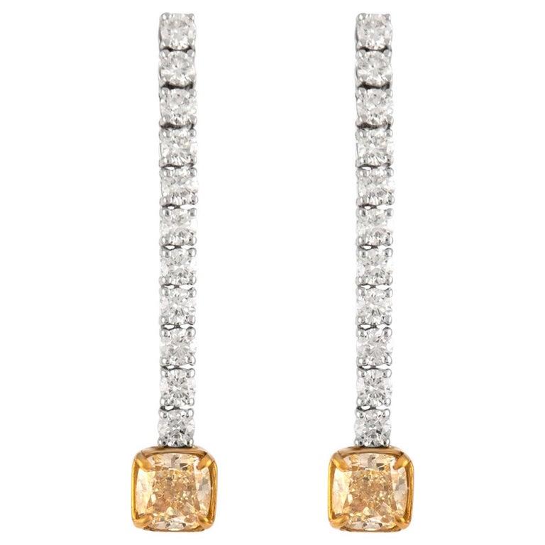 GIA Certified 5.20 Carat Drop Diamond Earrings 18 Karat White Gold For Sale