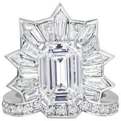 GIA Certified 5.20 Carat Emerald Cut Diamond Cocktail Ring