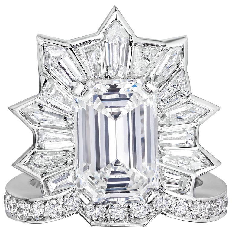 GIA Certified 5.20 Carat Emerald Cut Diamond Cocktail Ring For Sale