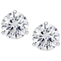 GIA Certified 4.02 Carat Round Brilliant Cut Diamond Studs 100% Eye Clean