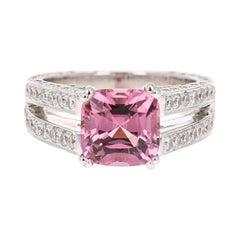 GIA Certified 5.20 Carat Spinel Diamond 18 Karat White Gold Bridal Ring