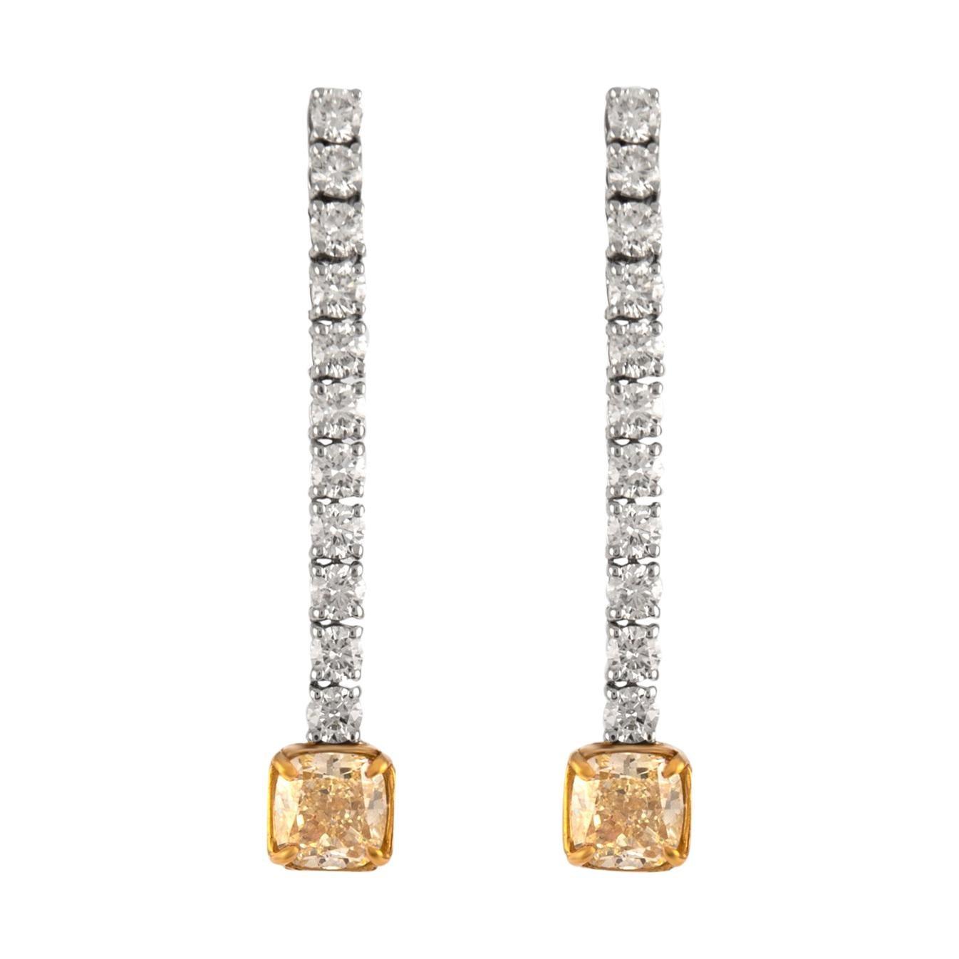 GIA Certified 5.20ct Total Diamond Drop Earrings 18k White & Yellow Gold