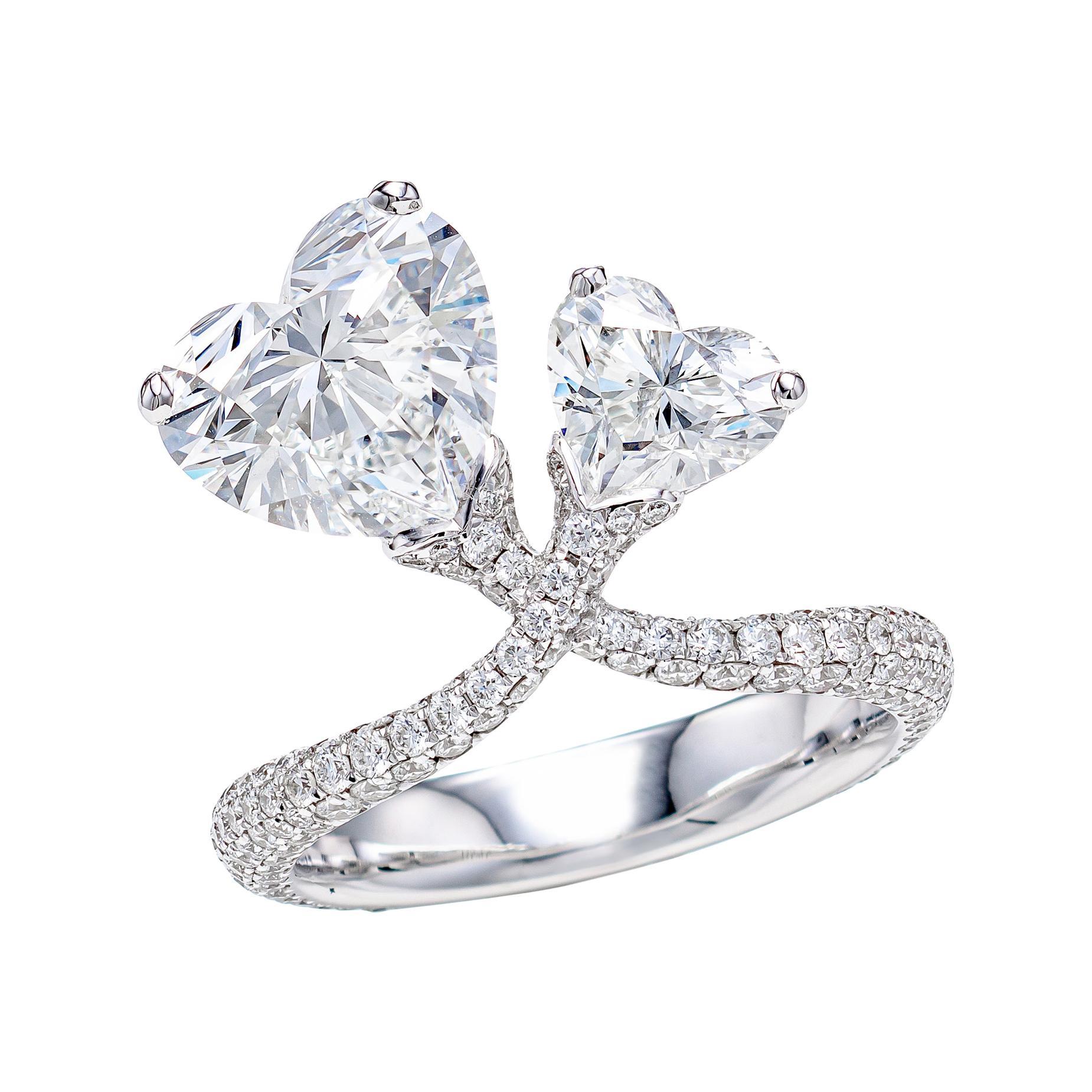 GIA Certified 5.21 Carat Toi et Moi Heart Shape Diamond Ring in 18K Gold