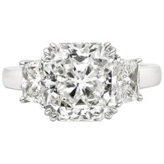 GIA Certified 5.24 Carat Radiant Cut Diamond Three-Stone Engagement Ring