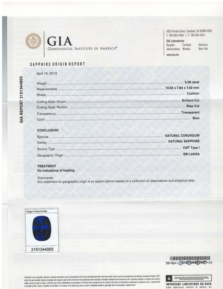 Cushion Cut GIA Certified 5.28 Carat Unheated Blue Sapphire and Diamond Platinum Ring For Sale