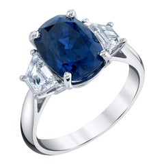 GIA Certified 5.28 Carat Unheated Blue Sapphire and Diamond Platinum Ring