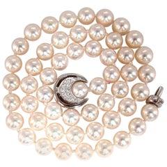 GIA Certified 53 Natural Akoya Pearls Necklace Saltwater Pintada Fucata 18 Karat