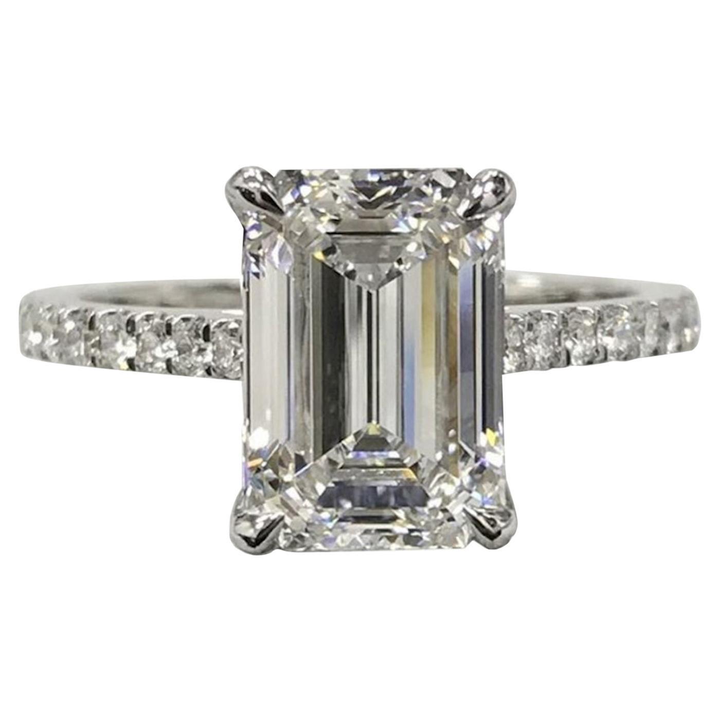 GIA Certified 3.50 Carat Emerald Cut VS2 Clarity E Color Diamond Ring