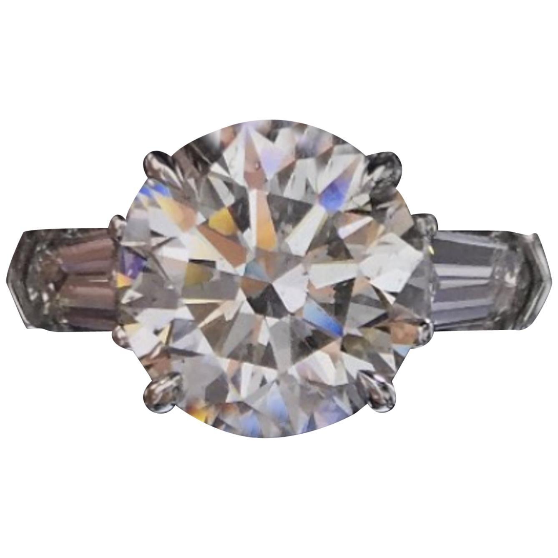GIA Certified 5.65 Carat Round Brilliant Cut Diamond Engagement Ring