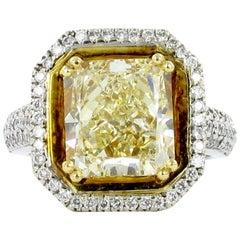 GIA Certified 5.30 Carat Yellow Diamond Ring