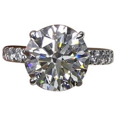 GIA Certified 3.80 Carat Round Brilliant Cut Diamond Triple Excellent Cut