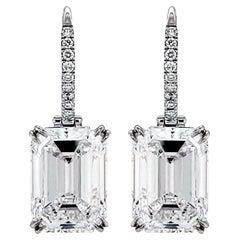 GIA Certified 5.37 Carat Each Diamond Platinum Earrings