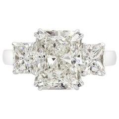 GIA Certified 5.39 Carat Radiant Cut diamond Three-Stone Engagement Ring