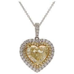GIA Certified 5.41 Carat Fancy Light Yellow Heart Shape Halo Pendant 18 Karat