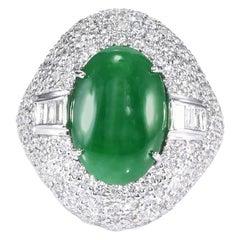 GIA Certified 5.41 Carat Type A Imperial Jadeite Jade 18 Karat White Gold Ring