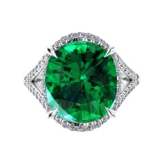 GIA Certified 5.42 Carat Cushion Emerald Diamonds Platinum 950 Cocktail Ring