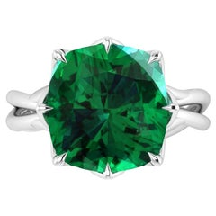 GIA Certified 5.42 Carat Emerald Cushion Cut Platinum 950 Cocktail Ring