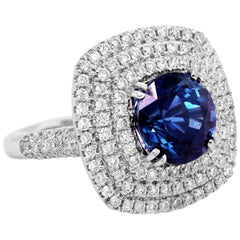GIA Certified 5.42 Carat Round Blue Sapphire No Heat Diamond Ring