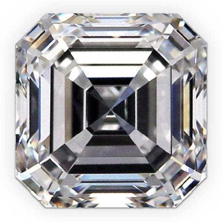 Modern GIA Certified 5.65 Carat Asscher Cut Diamond Engagement Ring G Color VVS2  For Sale