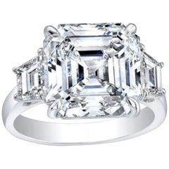 GIA Certified 5.65 Carat Asscher Cut Diamond Engagement Ring G Color VVS2