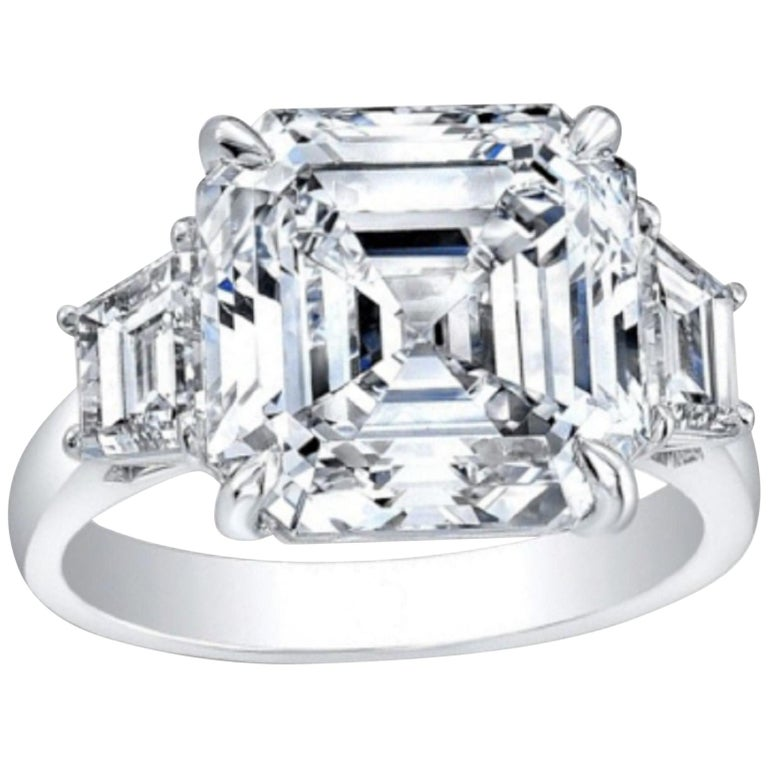 GIA Certified 5.65 Carat Asscher Cut Diamond Engagement Ring G Color VVS2  For Sale